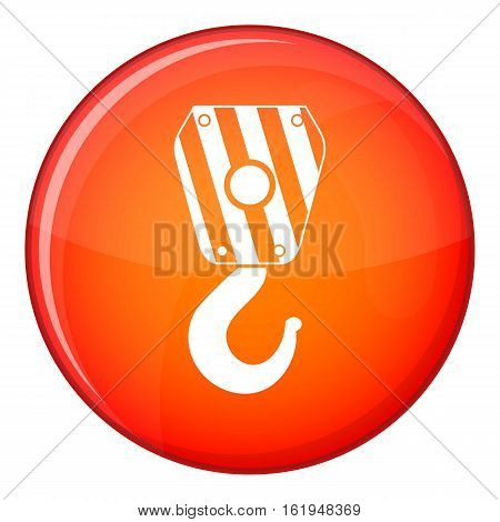Crane hook icon in red circle isolated on white background vector illustration