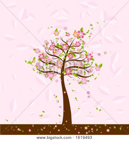 Illustration With Trees,Vector