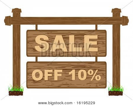 (raster image of vector) advertising banner for sales ten percent discount