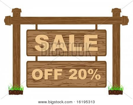 (raster image of vector) advertising banner for sales twenty percent discount