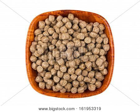 Extruded Rye Bran In Bamboo Bowl Isolated On White