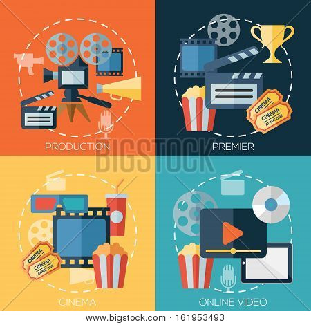 Flat design concepts for cinema, movie production, premier, online video. Concepts for web banners and promotional materials.