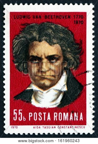 ROMANIA - CIRCA 1970: a stamp printed in Romania shows Ludwig van Beethoven German Composer and Pianist circa 1970