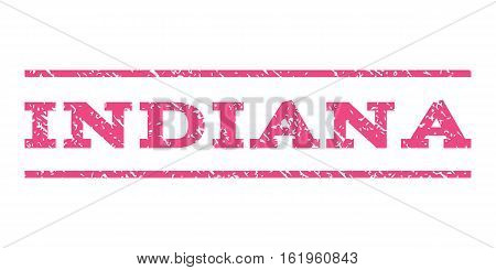 Indiana watermark stamp. Text caption between horizontal parallel lines with grunge design style. Rubber seal stamp with scratched texture. Vector pink color ink imprint on a white background.