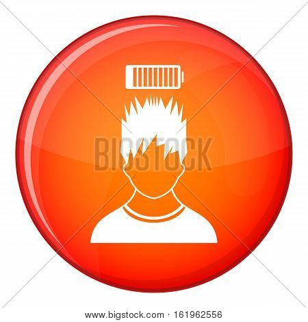 Man with low battery over head icon in red circle isolated on white background vector illustration