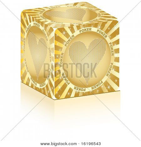 (raster image of vector) golden box with poker element