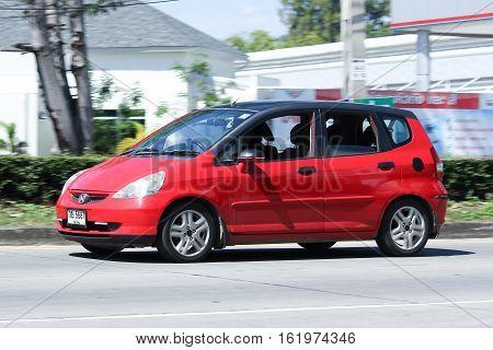 CHIANG MAI THAILAND - OCTOBER 31 2016: Private car Honda Jazz. On road no.1001 8 km from Chiangmai city.