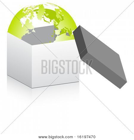 (raster image) open box with world globe inside