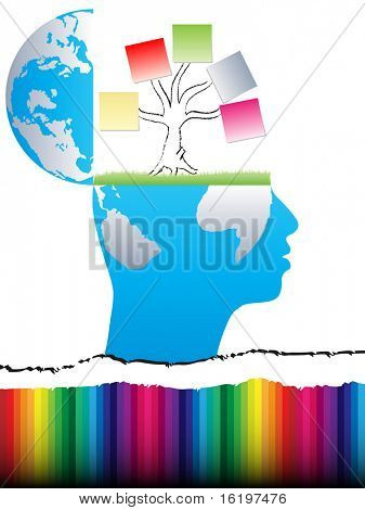 (raster image) open mind design with business tree
