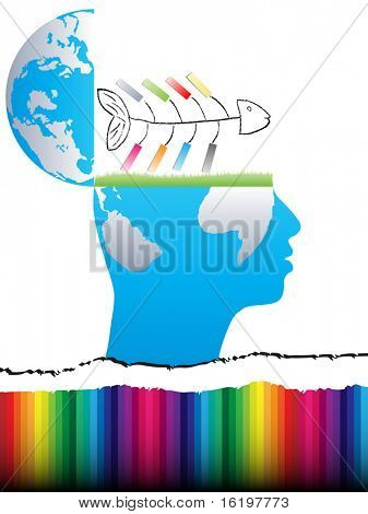(raster image) open mind design with fish