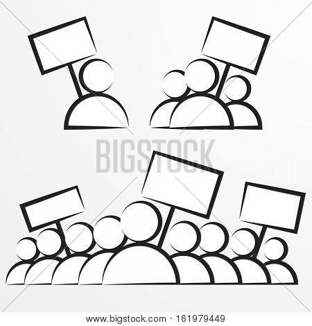 minimalistic illustrations of protestors holding signs, eps vector