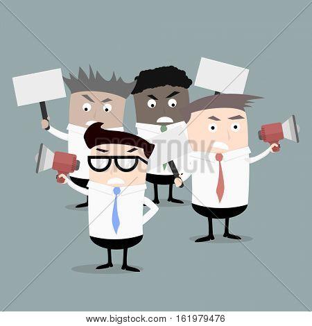 group of businessmen protesting, eps10 vector illustration