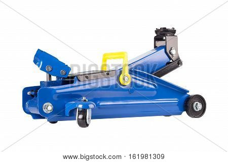 Frontal view hydraulic floor jack isolated on white background