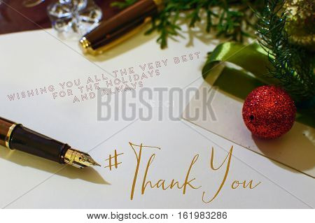 Christmas thank-you card with hashtag to send seasons greetings to social network friends, followers, community or clients at the end of the year thank you part series holiday #thankyou cards