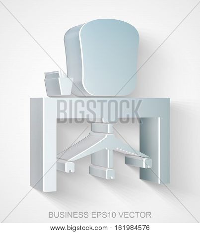 Business icon: extruded Metallic Office with transparent shadow, EPS 10 vector illustration.