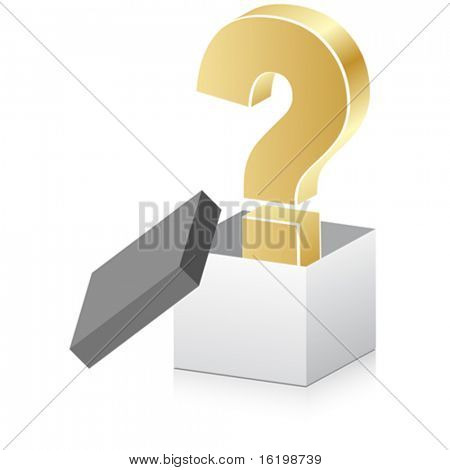 white open box with question mark