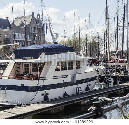 view to Rotterdam city harbour, future architecture concept, many boats on background, nobody lifestyle cocept casual