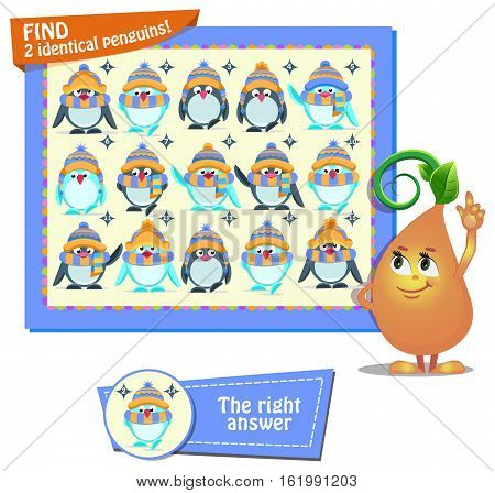 Visual Game for children. Task: find two identical penguins