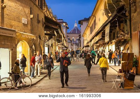 People On Ponte Vecchio In Florence In Evening