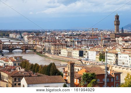 Above View Of Florence Town With Bridge And Palace