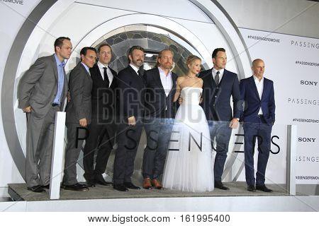 LOS ANGELES - DEC 14:  Executives, Michael Sheen, Morten Tyldum, Jennifer Lawrence, Chris Pratt, Executive at the