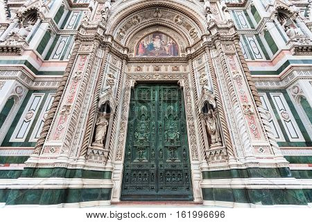 Closed Doors Of Florence Duomo Cathedral