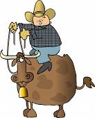 stock photo of bull-riding  - This illustration depicts a cowboy riding a bull - JPG