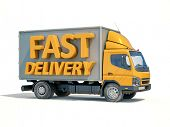 3d render: Yellow Postal Truck and 3d sign Fast Delivery, Home Delivery Icon, Delivery Truck Icon, T poster