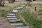 picture of pavestone  - stone path way in spring times - JPG