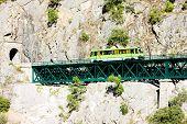 image of motor coach  - engine coach on railway viaduct near Tua - JPG