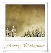 stock photo of winter scene  - Vintage Winter Landscape in instant photo frame - JPG