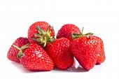 stock photo of healthy food  - Strawberries isolated over white background - JPG