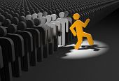 Person wants to stand out from the crowd. 3d illustration poster
