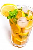 stock photo of iced-tea  - Iced tea with lemon isolated on white - JPG