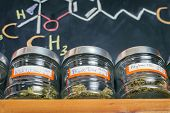 Medical marijuana jars against board with THC formula - cannabis dispensary background poster