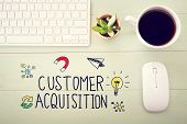 Customer Acquisition Concept With Workstation poster
