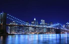 image of brooklyn bridge  - Brooklyn Bridge and Manhattan skyline At Night New York City - JPG