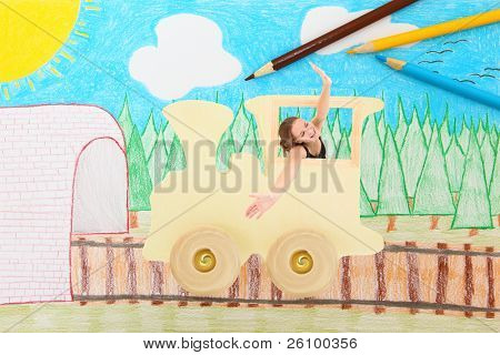 Beautiful 15 year old teen girl hanging out the window of  a toy wooden train in an imaginary country side.