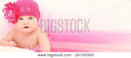 Beautiful baby girl in ADD TEXT background wearing pink flower hat and pink tutu over white.