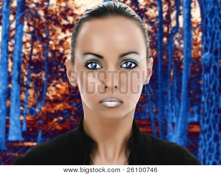 Beautiful young alien woman in fantasy sci-fi portrait in forest. Illustration and photography combined.