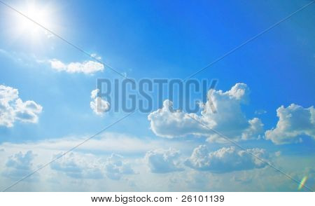 Beautiful sky. Sunlight. Summer in Russia. Travel