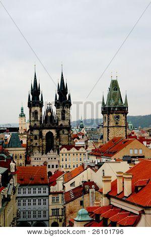 Prague. Bird eye view. Old town square