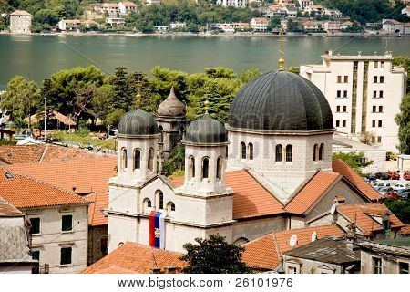 Travel in Motenegro. Kotor. Bird's eye view. Cathedral