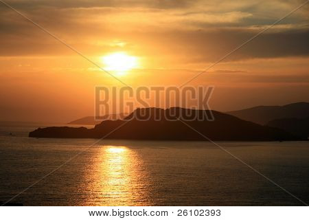 Background. Montenegro. Adriatic sea. Sunset
