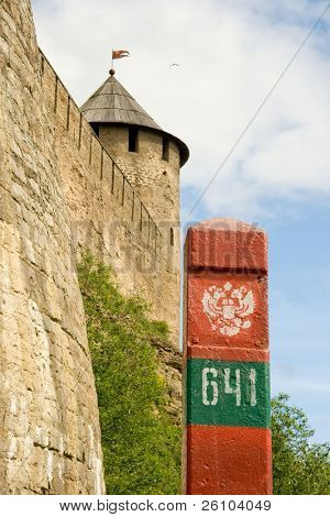 At the border Russia - Estonia. Russian fortress of Ivangorod and boundary post