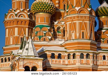 Moscow, details of the St. Basil's Cathedral (Cathedral of Intercession of Most Holy Theotokos on the Moat, Temple of Basil the Blessed)