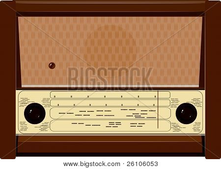 Vector Illustration Of An Old Radio