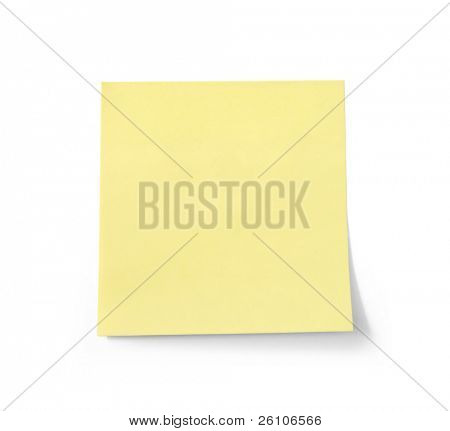 Blank yellow note paper. Isolated on white. Closeup.
