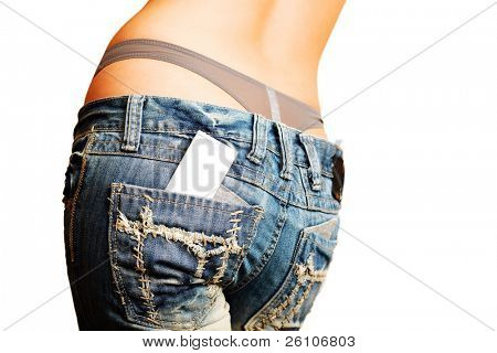 sexy Woman in Jeans. There's Business / Kredit-Karte aus ihrer Gesäßtasche. Grunge.