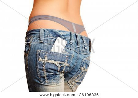 Sexy woman in jeans. There is business / credit card out of her back pocket.